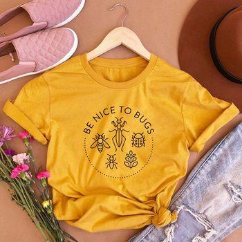 Kadın ol güzel böcek pamuk ekip boyun Streetwear yumuşak mektup Tee estetik sarı rahat grafik bayanlar üst T-Shirt