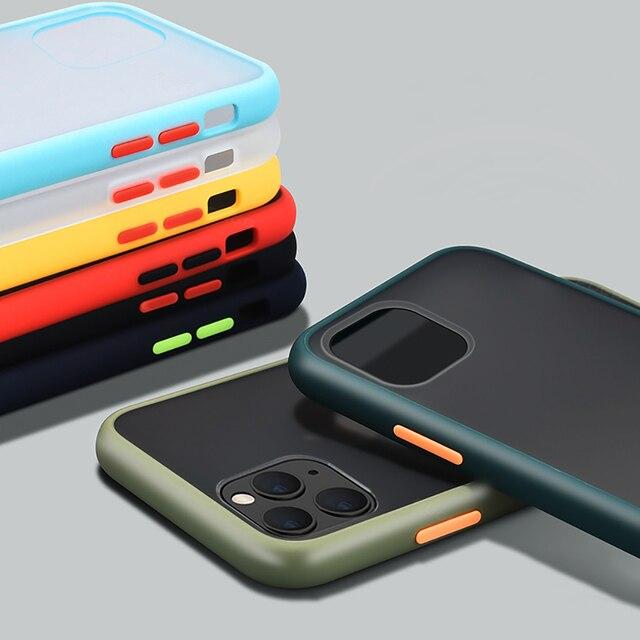 Luxus Stoßfest Fall auf Für iPhone 12 11 Pro Max mini Silikon Transluzenten Matte Telefon Abdeckung Für iPhone X XS XR 7 8 Plus Fällen