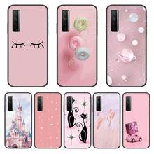 Castelo gato rosa caixa do telefone para huawei nova p10 lite 7 6 5 4 3 pro i p inteligente zblack etui 3d coque pintura hoesje
