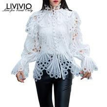 [LIVIVIO] винтажные открытые кружевные рубашки с рюшами, Женская Расклешенная блузка с длинным рукавом и стоячим воротником, женская модная одежда, новинка