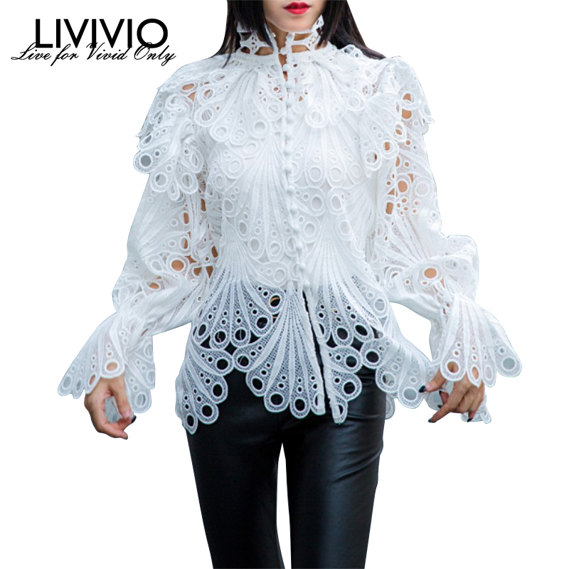 [LIVIVIO] Vintage Hollow Out Lace Ruffled Shirts Female Stand Neck Flare Long Sleeve Irregular Blouse Women Fashion Clothing New