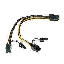 Conector de alimentação do cabo do divisor 30cm cabo gpu pci-e 8pin para dobrar pci-e pci exps 6pin + 2pin