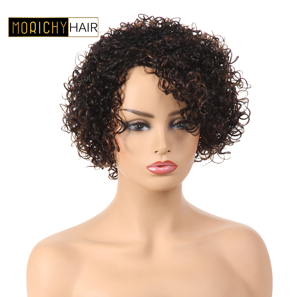 MORICHY Short cut Human Hair Wigs Bob Hair Wigs For Black Women Brazilian Curly Wigs Remy