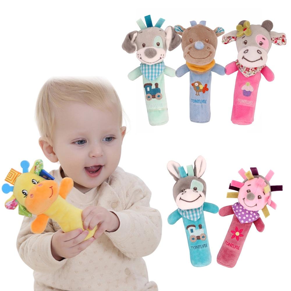 Cartoon Animal Plush Developmental Toy Bed Kids Baby Hand Soft Toys Rattle S