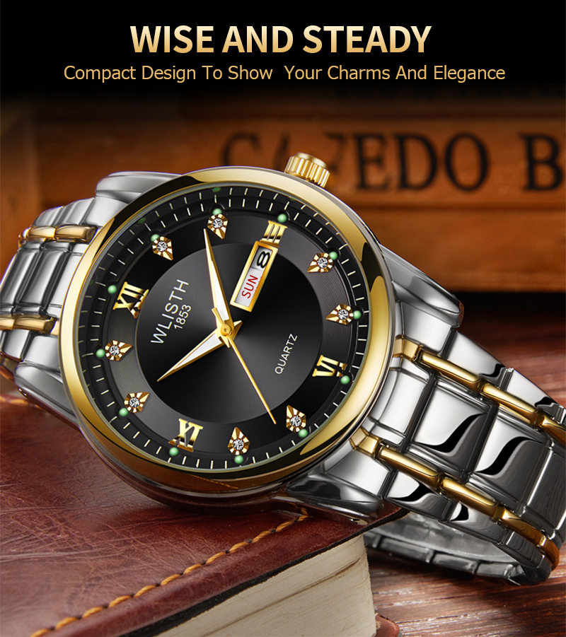 Luxury Quartz Clock Men's Watch Men Calendar Fashion Wristwatch Waterproof Business Full Steel CLOVER JEWELLERY