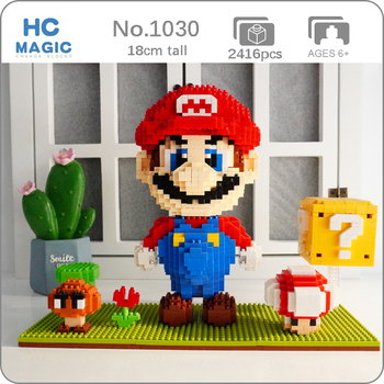 HC Super Game Mario Goomba Coin Flower Figure Building Blocks 3D Model DIY Small Blocks Mini Diamond Bricks Toy for Children Boy hc magic diamond building blocks bricks cartoon money pot pikachu anmie build blocks educational toys for boys girls children