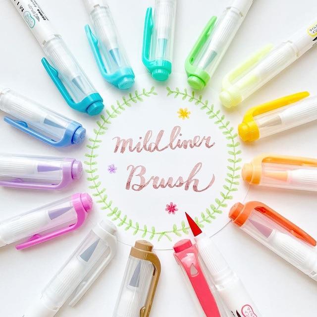 JIANWU 1pc japan zebra WFT8 mild liner brush pen Creative modelling double-headed marker pen bullet journal supplies kawaii