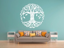 Vinyl Fashion Yogo Tree Home Decor Of Life Wall Sticker Mandala Circle Trees Art Decals Room Poster Mural W589