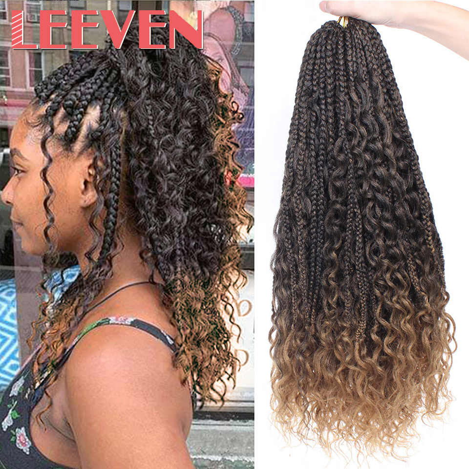Leeven Messy Goddess Box Braids Hair Synthetic Crochet Hair Bohemian Hair With Curls 24inch Boho Braided Hair Extension