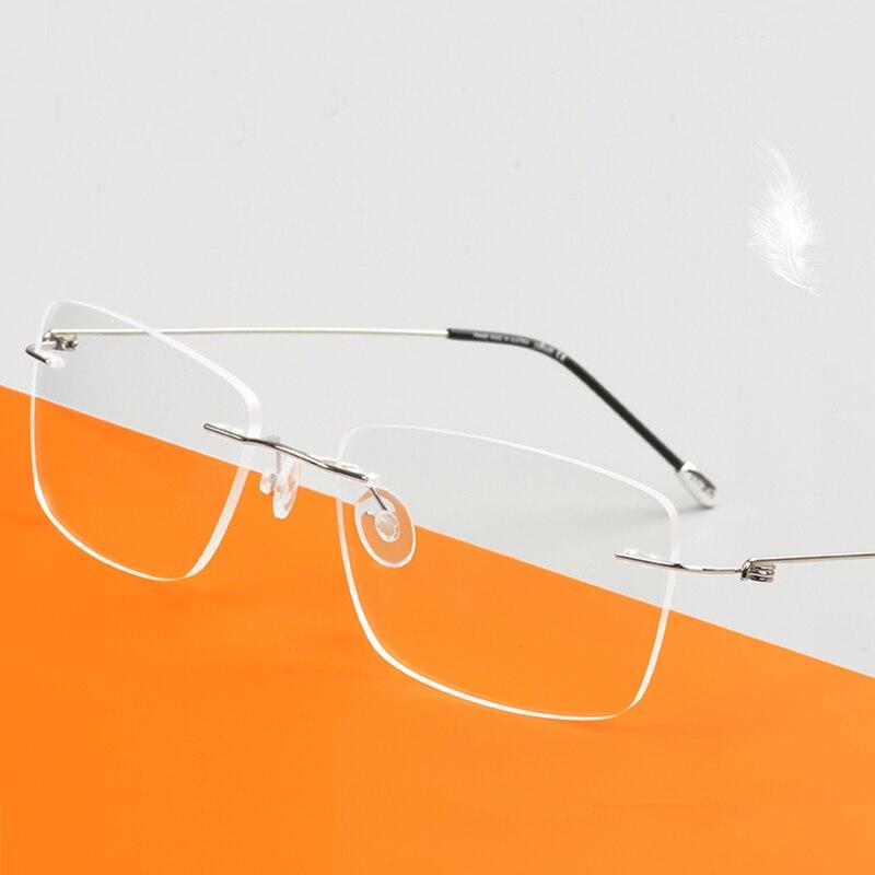 Выполненные на заказ оптические очки по рецепту фотохромные классические большие очки без оправы из сплава с защитой от синего близорукост...