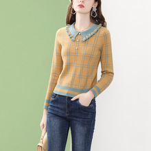 Knitted Blouse Tops Pullover Collar Long-Sleeve Casual Winter Women Plaid Only-Plus Peter-Pan
