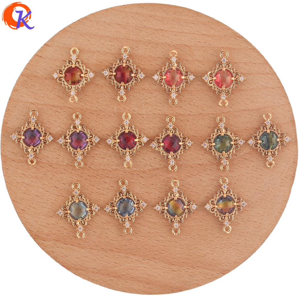 Cordial Design 50Pcs 15*19MM Jewelry Accessories/Hand Made/Crystal Connectors/Sqaure Shape/Charms/Earring Findings/DIY Making
