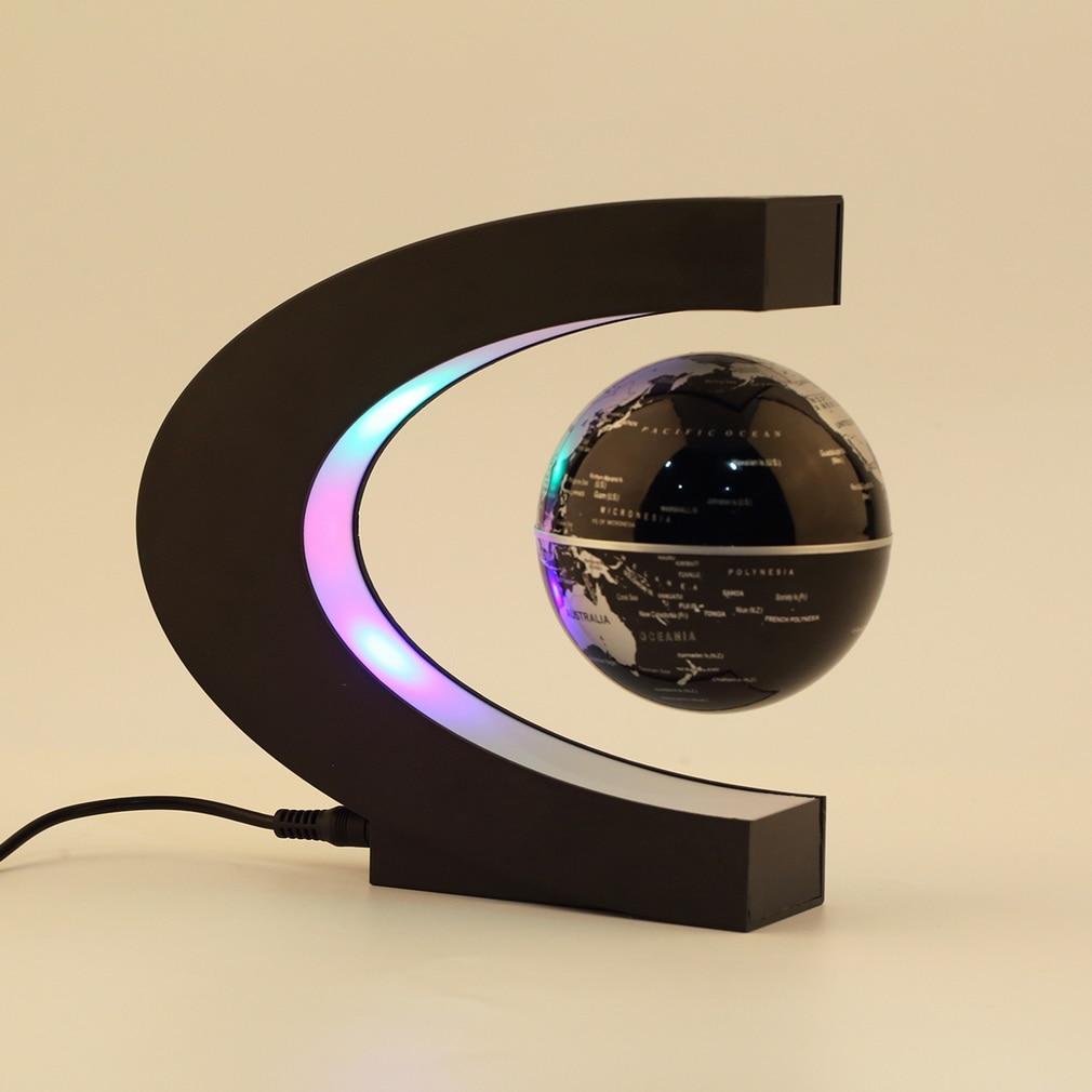 C Shape LED World Map Floating Globe Magnetic Levitation Light Antigravity Magic/novel Light Xmas Birthday Gift Home Decor E5M1