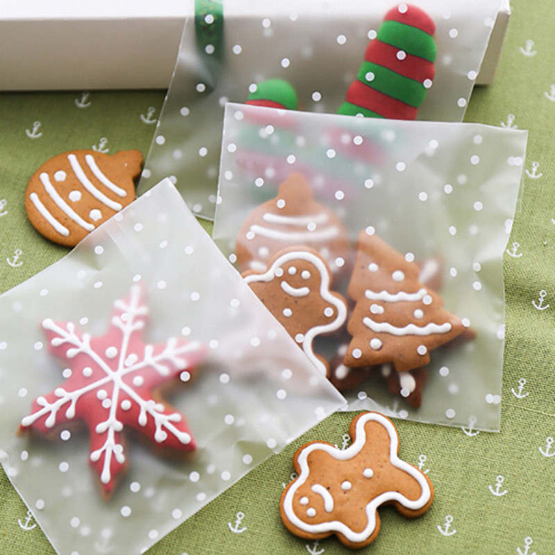 100pcs Dot Cookie Packaging Bags Self-adhesive Plastic Biscuit Bag Christmas Gift Frosted Candy Cookie Chocolate Bags HOt Sale