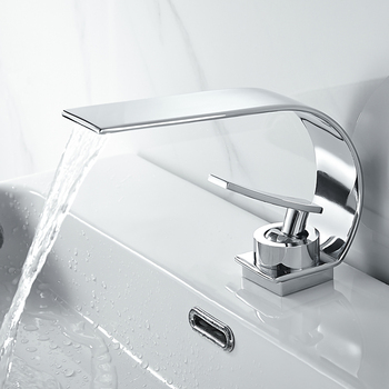 chrome Basin Faucet Solid Brass Waterfall Bathroom Sink Faucet Big Round Spout Mixer Tap Torneira Banheiro led color changing waterfall spout bathroom faucet brushed nickel mixer tap