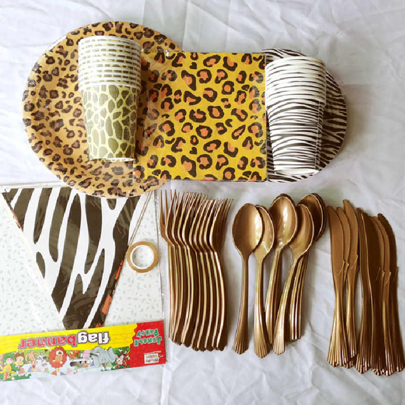 Jungle Bosdier Thema Wegwerp Servies Sets Luipaard Zebra Papieren Borden/Cups/Servetten Birthday Party Bruiloft Decoratie
