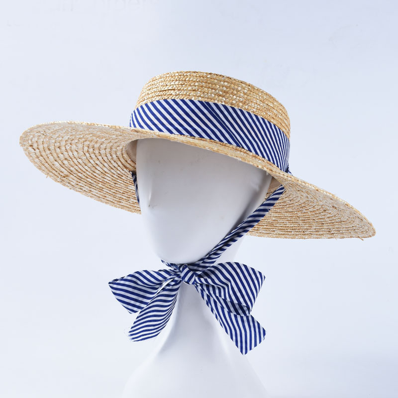 2020 Spring Summer Sun Hats Women Braided Straw Hat Striped Ribbon Bow Beach Caps French Style
