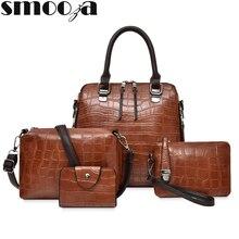 SMOOZA 2020 악어 가죽 어깨 숙녀 지갑과 핸드백 4 조각 핸드백 세트 여성 가방 여성 갈색 가방