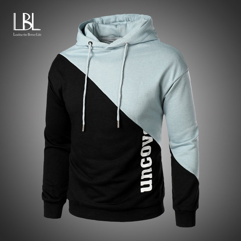 Men's Hoodies Male Casual Sweatshirts Men Solid Red Pink White Patchwork Color Hooded Sweatshirt Tops 2020 Autumn Fashion Brand