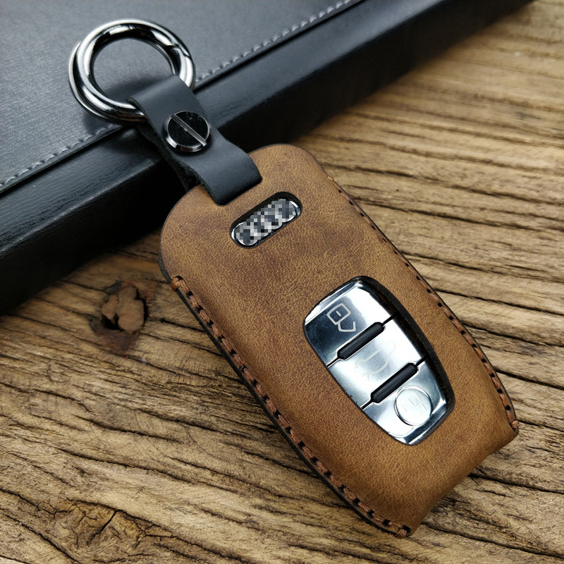 Top Layer Cowhide Car Key Case For A6L/A4L/Q3/A3/Q5/Q7/A4/A6/A5 Unisex Oil Wax Leather Customized Special Key Wallet 2017 Style