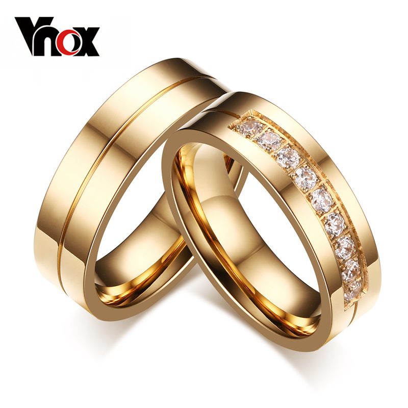 Vnox Trendy Wedding Bands Rings for Women / Men Love Gift Gold-color Stainless Steel CZ Promise Couple Jewelry