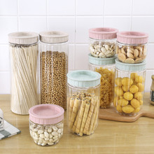 High Quality Transparent Plastic Sealed Cans Grains Tea Leaf Coffee Beans Candy Food Jar Kitchen Storage And Organization wooden storage box kitchen bottles jars miscellaneous grains sealed cans food storage jars tea leaf coffee beans candy jars