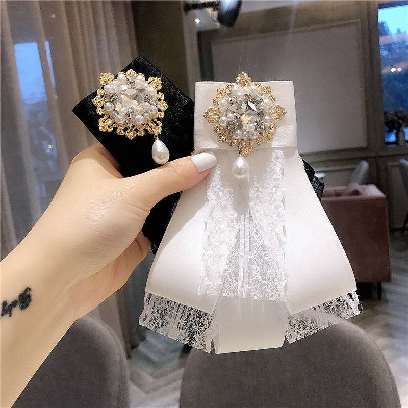 Korean Simple Brooch Baroque Rhinestones Pearl Lace Ribbon Receive Flowers Bow Tie For Girl Women Fashion Jewelry Accessories