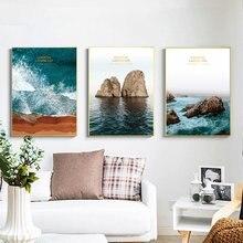 Океанские волны каменная стена плакат морской пляж пейзаж холст