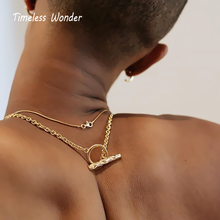 купить Timeless Wonder Stunning Brass T Bar Choker Necklace Women Jewelry Statement Hiphop Gown Punk Gothic Chains Adjustable 2365 дешево