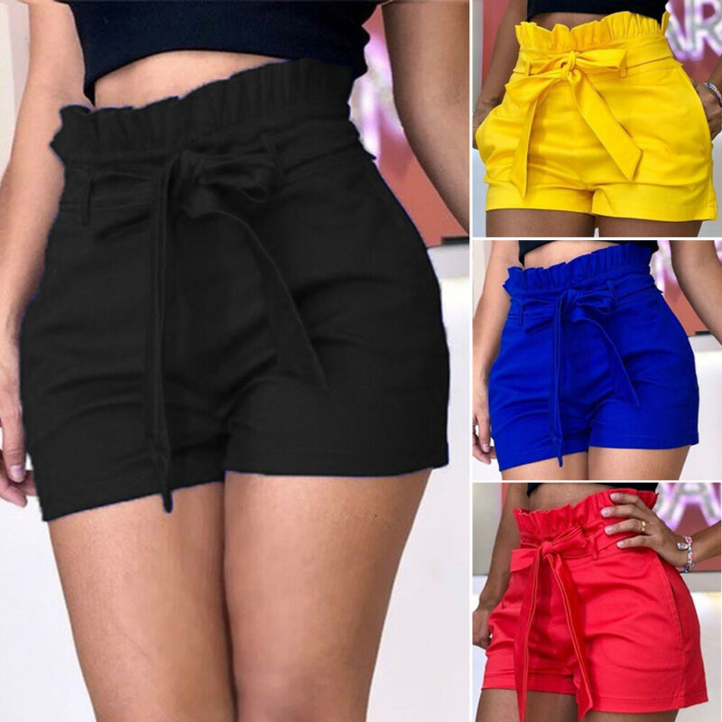 New Fasion Women Summer Solid Shorts Stylish Casual Shorts Belt Beach High Waist Shorts
