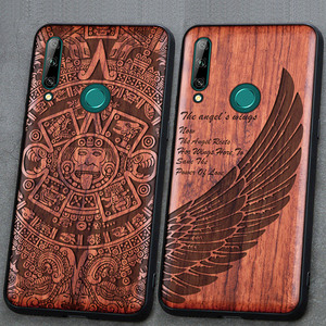 Image 1 - 3D Carved Wood Cartoon Bear Case For Huawei Honor 9X Premium EU Global Dragon Lion Wolf Tiger Tree wooden carve Cover