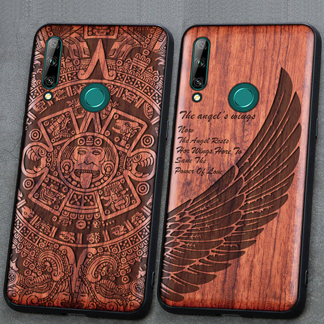 3D Carved Wood Cartoon Bear Case For Huawei Honor 9X Premium EU Global Dragon Lion Wolf Tiger Tree wooden carve Cover