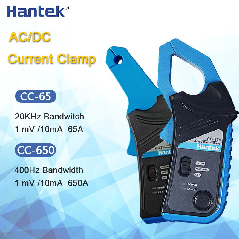 Hantek Oscilloscope AC/DC Current Clamp Probe CC-65 CC-650 20KHz/400Hz Bandwidth 1mV/10mA 65A/650A With BNC Plug CC65 CC650