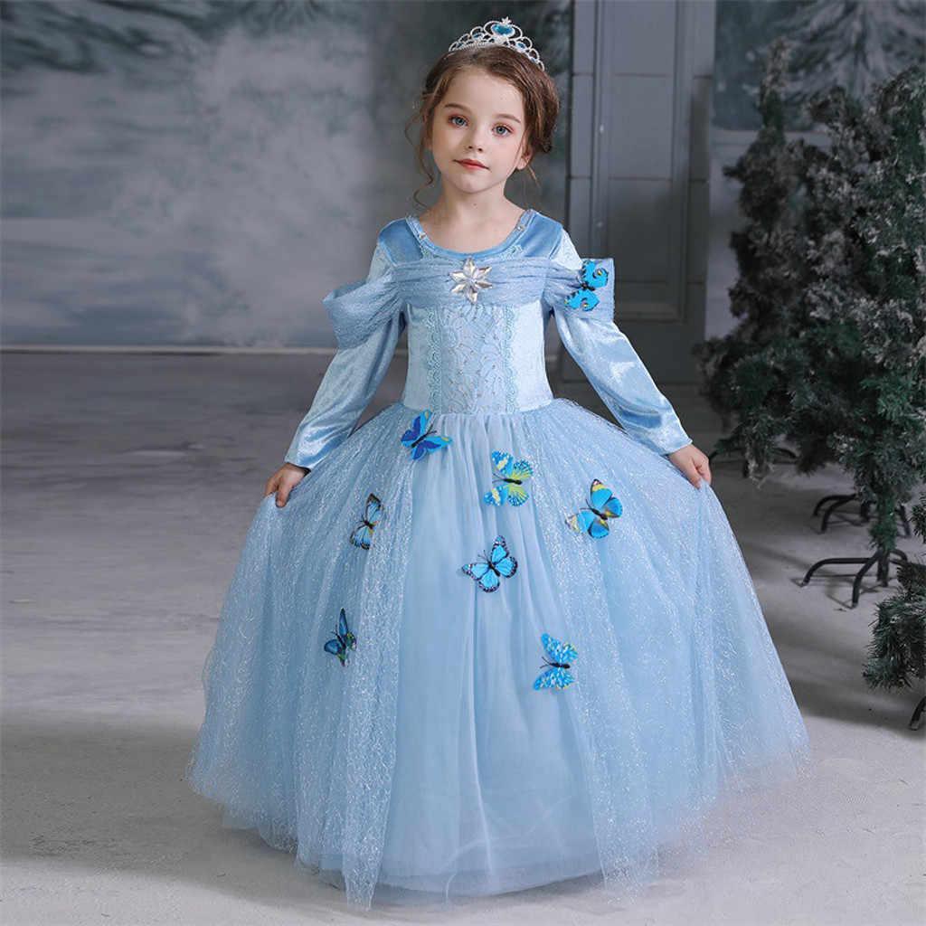 Бабочками и кружевом для малышей, в стиле пэчворк для маленьких девочек Хлопковое детское платье с длинными рукавами для девочек вечерние платье принцессы для косплея abito bimba в цетримония