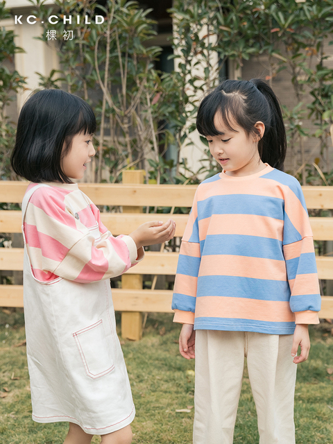 KC.Child 2020SS Latest Childrens T shirt Kids Striped  Long Sleeve Loose T shirt Babys soft T shirt Casual Style Age 2 13Y