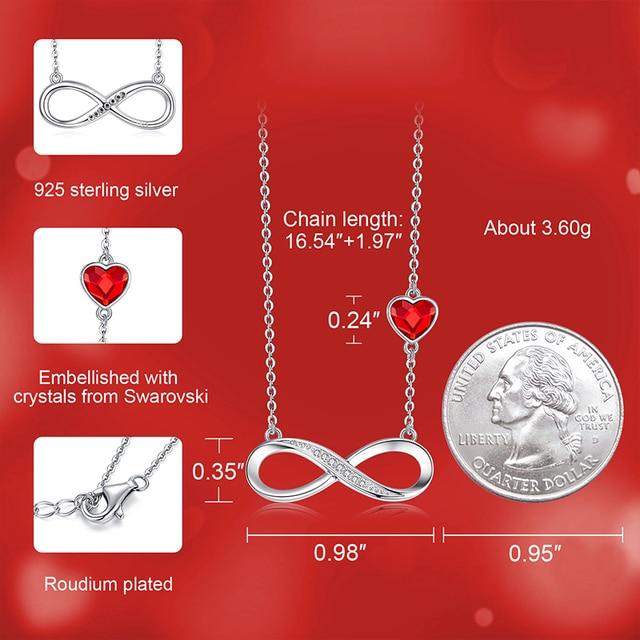 Cdyle mode délicat argent infini symbole collier à breloques avec coeur rouge Figure huit collier ras du cou accessoires femmes
