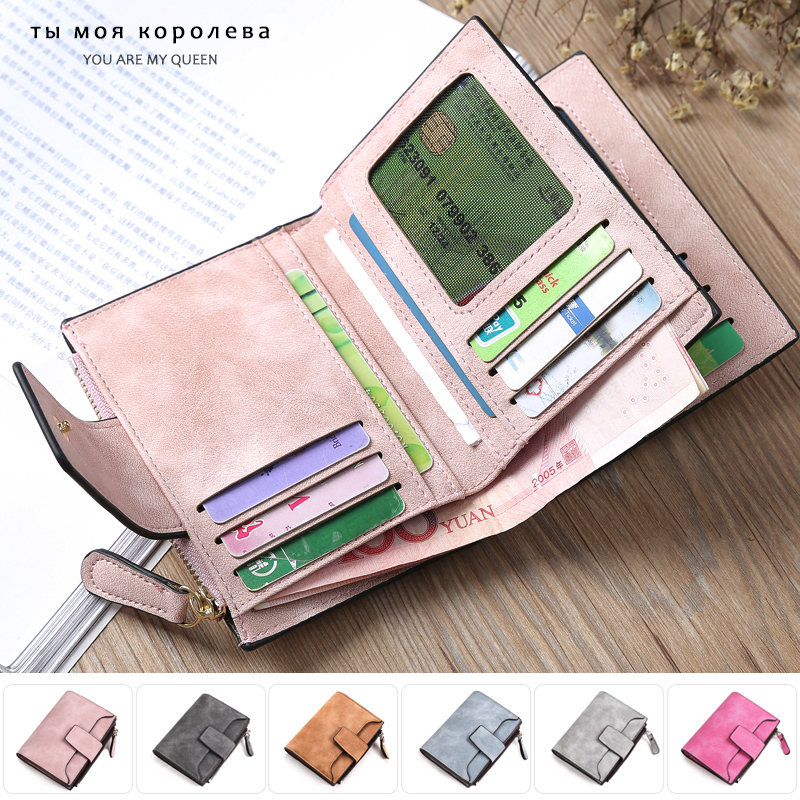 Women Wallet Fashion PU Leather Coin Pocket Luxury Brand Designer Hasp Zipper Purse Women Simple Retro Short Wallets Cards Hold
