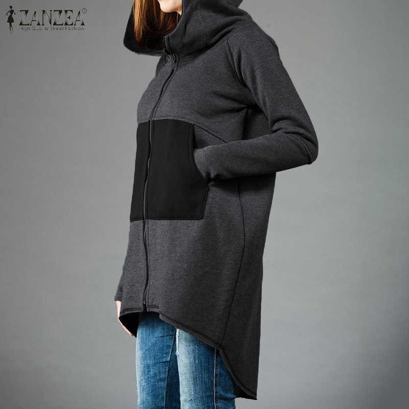ZANZEA Frauen Hoodies Sweatshirts 2020 Mode Damen Solide Langarm Mit Kapuze Zipper Up Outwear Lose Taschen Hoody Plus Größe