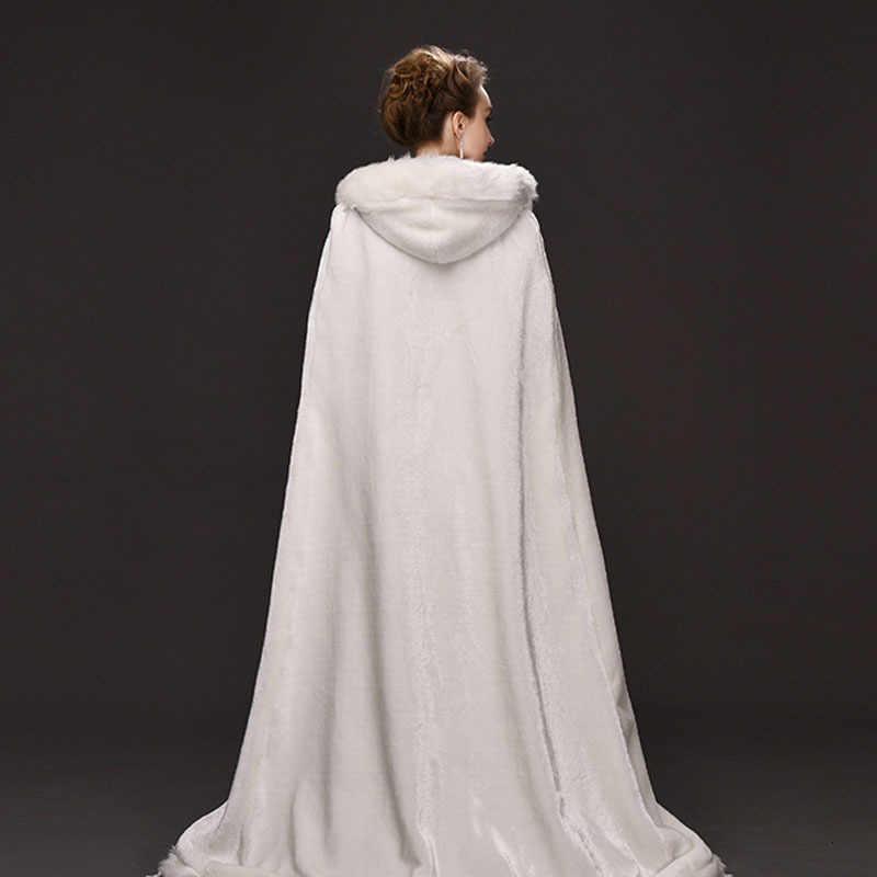 คุณภาพสูงฤดูหนาวงานแต่งงานเสื้อคลุมยาวขนสัตว์หมวก Faux FUR EDGE Hooded เจ้าสาวเสื้อคลุมงานแต่งงานเจ้าสาวสีขาว Poncho wraps