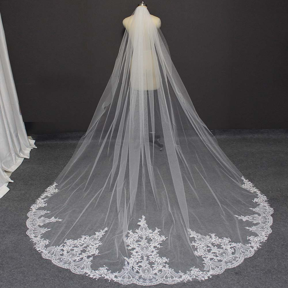 High Quality Lace Appliques Wedding Veil With Comb 3 Meters Cathedral Bridal Veil White Ivory Long Veil Bride Accessories