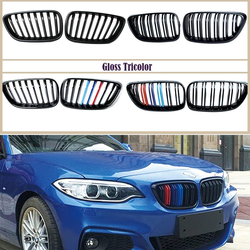 1 pair For BMW F22 F23 F87 2 Series M2 220i 228i M235i M240i Carbon/Black ABS Kidney Grille Front Bumper Grill M Performance image