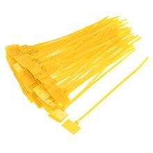 Uxcell 120 шт. кабельные стяжки на молнии 6 дюймов этикетка метка самоблокирующийся нейлоновый провод желтый ремешок для электронных кабелей и проводов