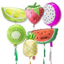 Tropical Fruit Foil Balloons Tassel Garland Lemon Kiwi Pitaya Pineapple Strawberry Watermelon Kids Birthday Party Summer Decor