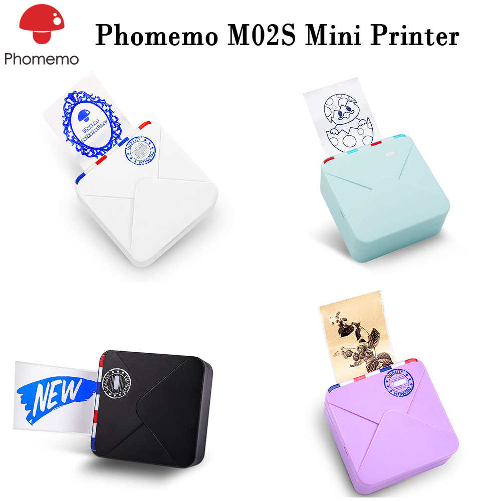 Portable Phomemo M02S Thermal Printer Foto Mini Bluetooth Multifunct Printer 300 DPI HD Cetak dengan Jelas Pengiriman Cepat