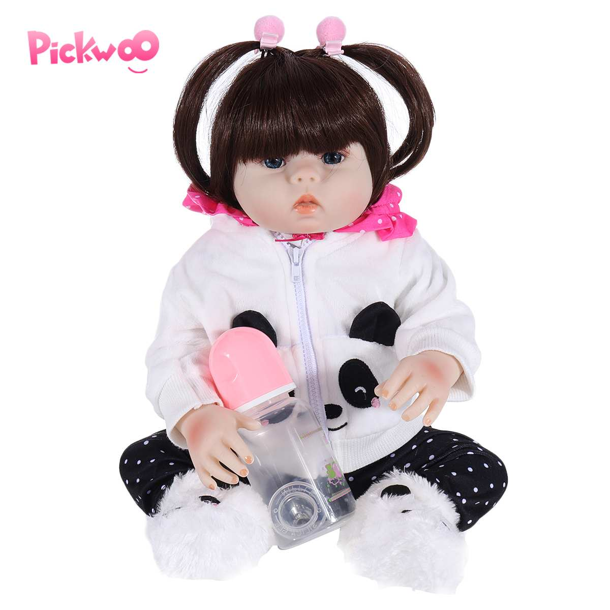 Pickwoo 48CM Bebes Doll Reborn Toddler Doll Girl In Panda Dress Full Body Soft Silicone Realistic Baby Bath Toy Anatomically
