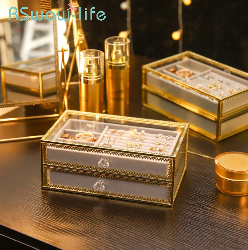 Drawer-Organizer Storage-Box Copper Luxury Light Jewelry-Box Edge-Glass For Ring-Ear