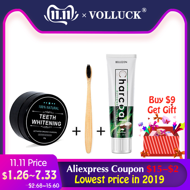 VOLLUCK Teeth Whitening Bamboo Toothbrush Tooth Powder Toothpaste Set Charcoal Teeth Whitening Dental White Teeth Kits Oral Care