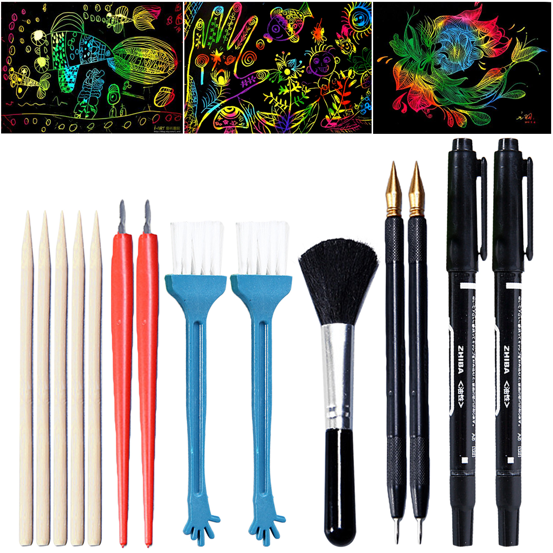 14PCS Scratch Tool Set With Bamboo Sticks Scraper Repair Scratch Pen Black Brush For Kids Children Scratch Painting Gift