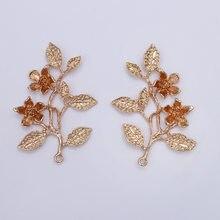 1 par 50*70mm árvore ramo encantos folha flor pingente para brincos diy artesanal jóias fazendo suprimentos jóias encontrando 096