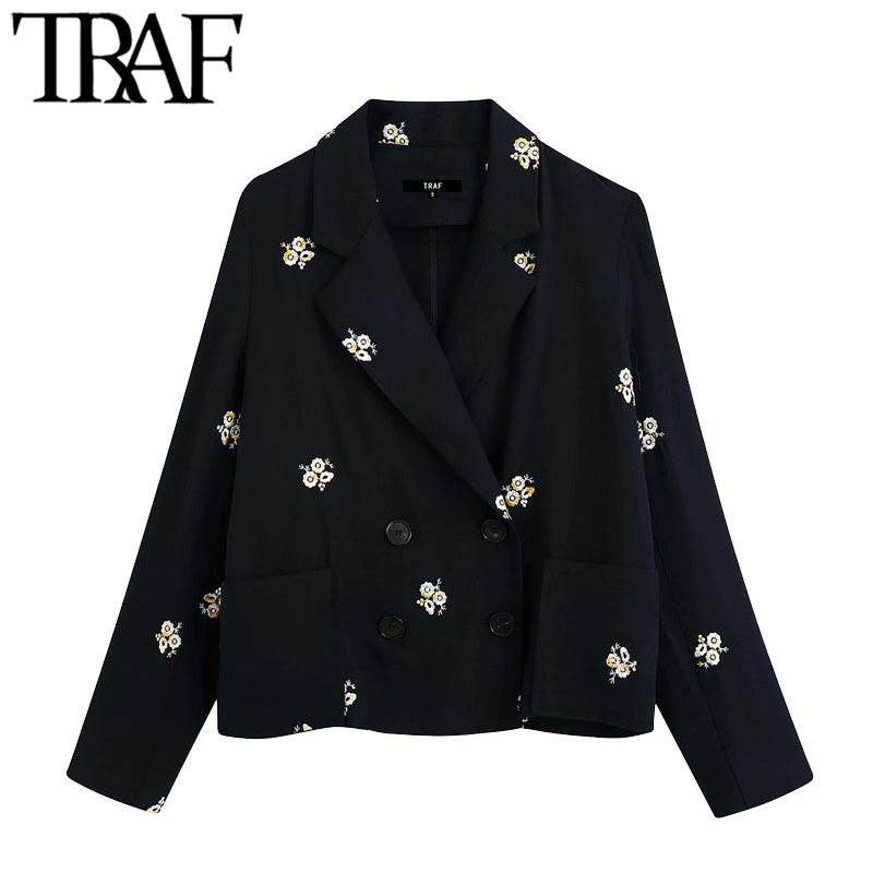 TRAF Women Fashion Double Breasted Floral Embroidery Blazer Coat Vintage Long Sleeve Pockets Female Outerwear Chic Tops